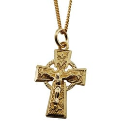 18K Gold/Sterling Silver Celtic Crucifix on 18 inch chain