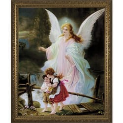 Guardian Angel On The Perilous Bridge W Gold Frame The