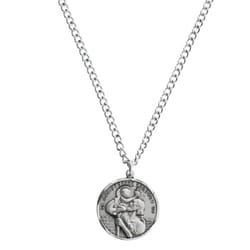 Sterling Silver St Christopher Medal 24 Inch Chain The