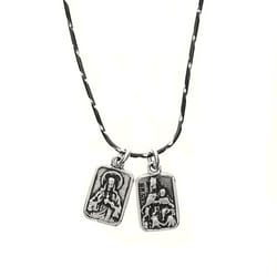 Small Scapular Medal Necklace Sterling Silver The