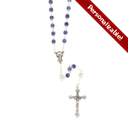6MM Blue / Pearl Rosary