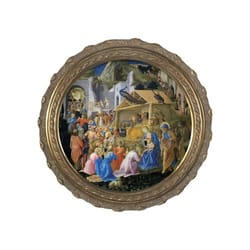 Adoration of the Magi on Canvas w/ Round Gold Frame
