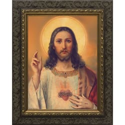 Antique Sacred Heart w/ Dark Ornate Frame