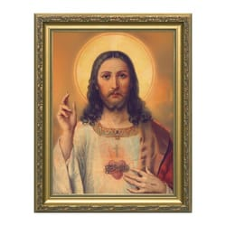 Antique Sacred Heart w/ Gold Frame
