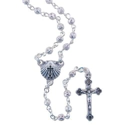 Baptism Rosary - 15 inch - Silver-toned Filigree Beads