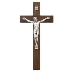 Beveled Walnut/Silver Crucifix - 10 inch