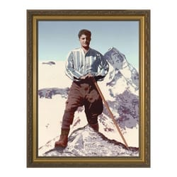 Bl. Pier Giorgio Frassati on a Mountain w/ Gold Frame