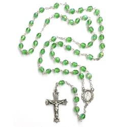 Bohemian Glass Birthstone Rosary – Peridot / August