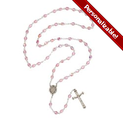 Bohemian Glass Birthstone Rosary – Rose / October