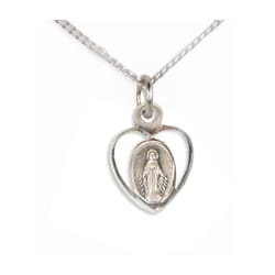 Children's Miraculous Heart Medal - Sterling Silver with 13 inch chain