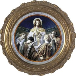 Christ, Bread of Angels on Canvas w/ Round Frame