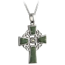 Connemara Marble Trinity Knot Cross Pendant  - Sterling Silver on 18 inch chain