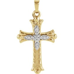 Cross Pendant with Diamond -14K Gold