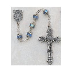 Deluxe Blue Aurora Borealis Capped Rosary