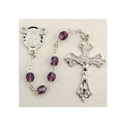 Deluxe Pewter 6mm Amethyst Rosary