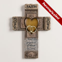 Faith, Hope and Love Marriage Cross - 10.5 inch