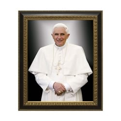 Formal Pope Benedict w/ Ornate Black and Gold Frame