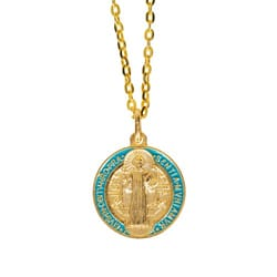 St. Benedict Gilt Gold and Aqua Medal with chain