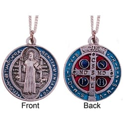 St. Benedict Blue, Red, and Silver Medal & Chain