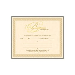 Gold Baptism Certificate