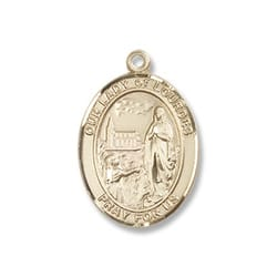 Gold Filled Our Lady of Lourdes Pendant w/ Chain