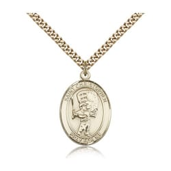 Gold Filled St. Christopher Medal w/ chain - Baseball w/ Mit