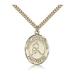 Gold Filled St. Christopher Medal w/ chain - Ice Hockey