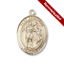 Gold Filled St. Sebastian Pendant w/ chain