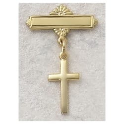 Gold/Sterling Silver Cross Gold Plated Baby Pin