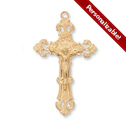 Gold/Sterling Silver Crucifix with 24 inch chain