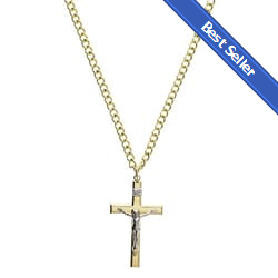 Gold Sterling Silver Crucifix with 24 inch chain 3c2a532e89