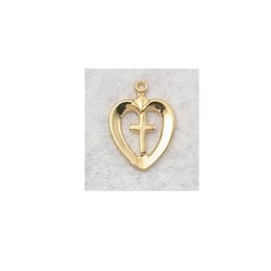 Gold/Sterling Silver Heart with Cross Medal with 18 inch chain