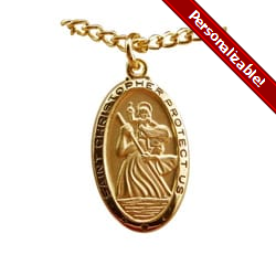 Gold/Sterling Silver St. Christopher Medal on 24 inch chain