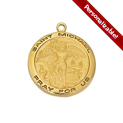 Gold/Sterling Silver St. Michael Medal with 18 inch chain