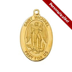Gold/Sterling Silver St. Michael Medal with 20 inch chain