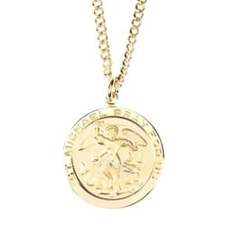Gold/Sterling Silver St. Michael Medal with 24 inch chain