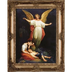 Guardian Angel on Canvas w/ Gold Ornate Museum Frame