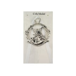 Guardian Angel Crib Medal with White Ribbon