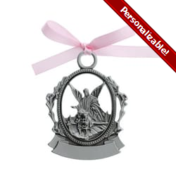 Guardian Angel Crib Medal - Pink Ribbon