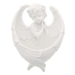 Guardian angel with wings making up font, white alabaster, 6½""