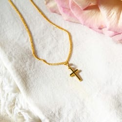 Infant's Cross - Gold/Sterling Silver with 13 inch chain