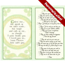 Irish Celtic Series Personalized Prayer Cards  (Priced Per Card)