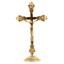 Italian Brass Crucifix on Round Base - 14.5 inches