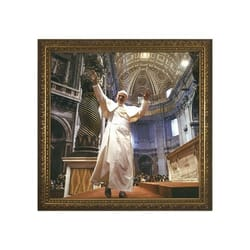 John Paul II (in St. Peter's) w/ Gold Frame (13x13)