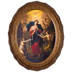 Mary of Untier of Knots Canvas in Oval Frame, 12x16