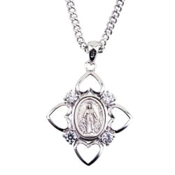 Miraculous Medal with 4 hearts and CZ crystal stone