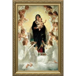 Our Lady of the Angels by Bouguereau, Museum Gold Frame, 14x22
