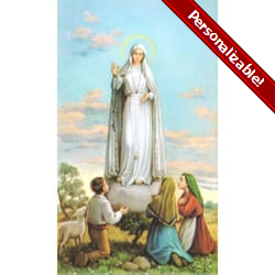 Our Lady of Fatima Personalized Prayer Card (Priced Per Card)