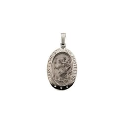 Oval St. Christopher Medal -14K White Gold