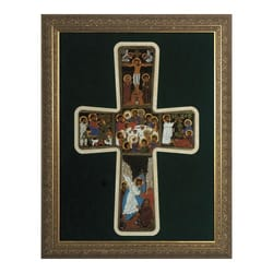 Pentecost Cross (Matted) w/ Gold Frame (12x16)